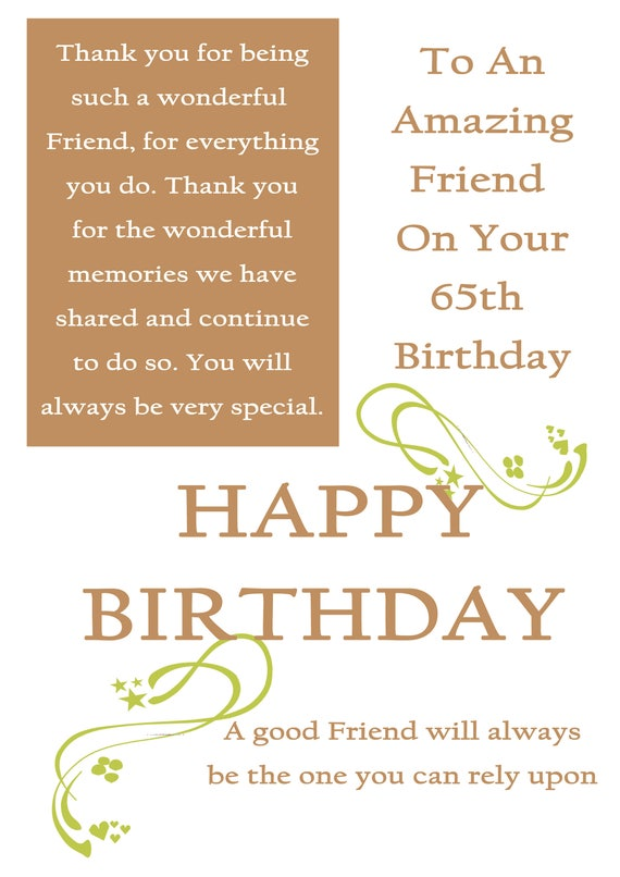 Friend 65 Birthday Card With Removable Laminate