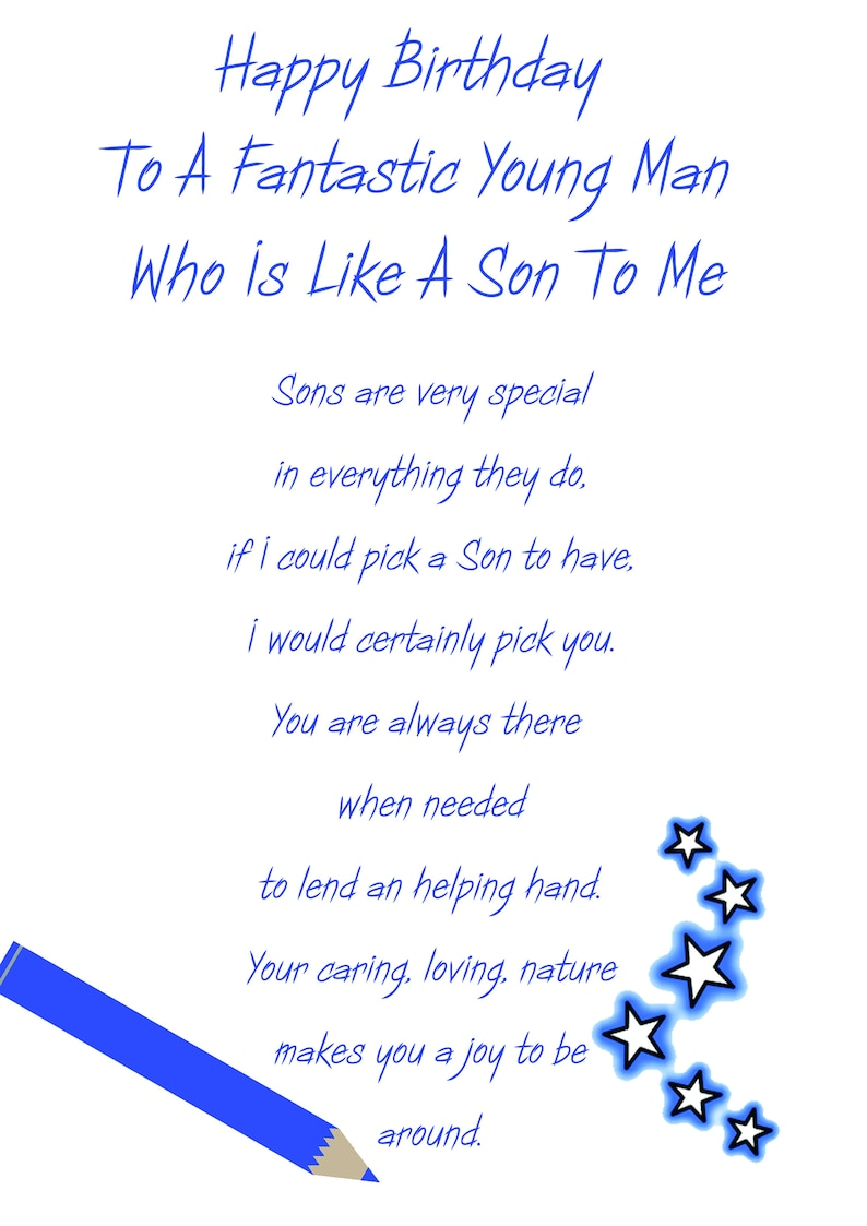 Like A Son Birthday Card
