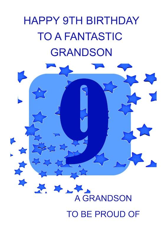 Grandson 9th Birthday Card