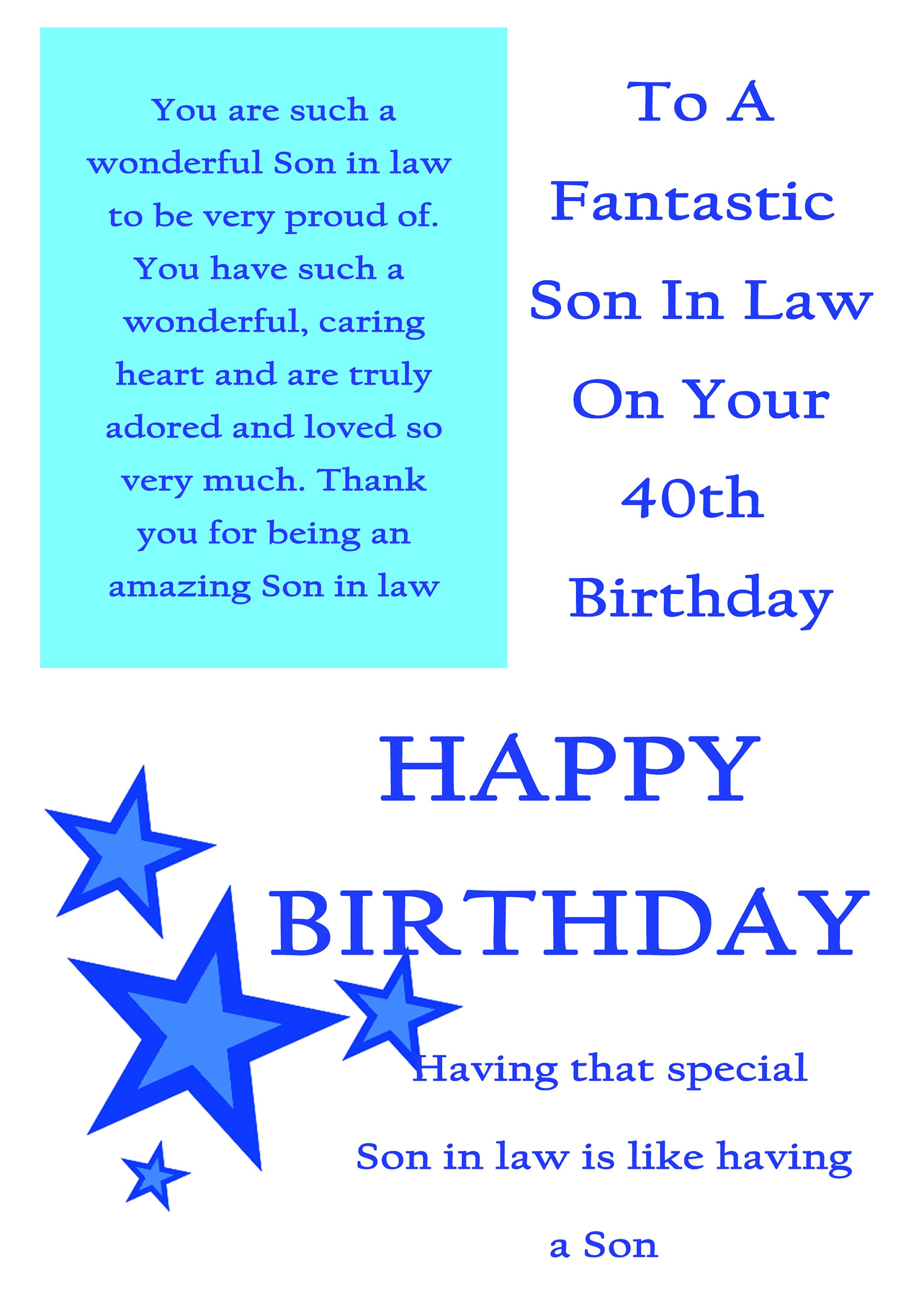 Son In Law 40 Birthday Card With Removable Laminate