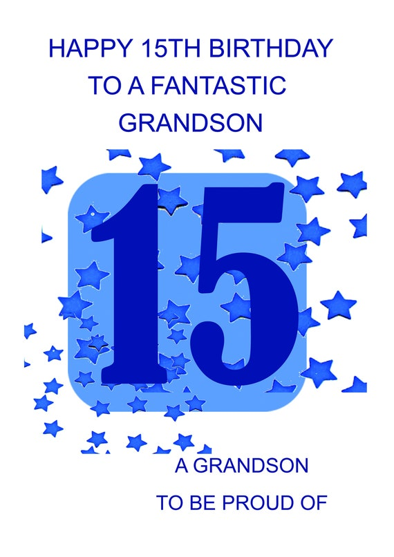 Grandson 15th Birthday Card Etsy