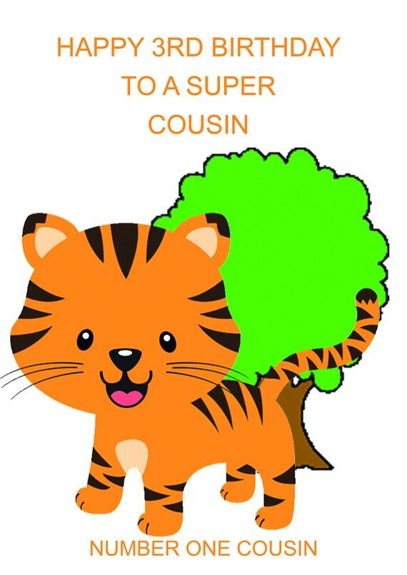 Cousin 3rd Birthday Card Boy Etsy