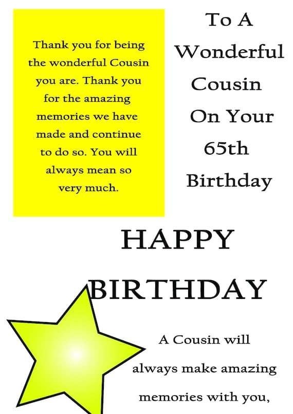 Cousin 65 Birthday Card Male With Removable Laminate