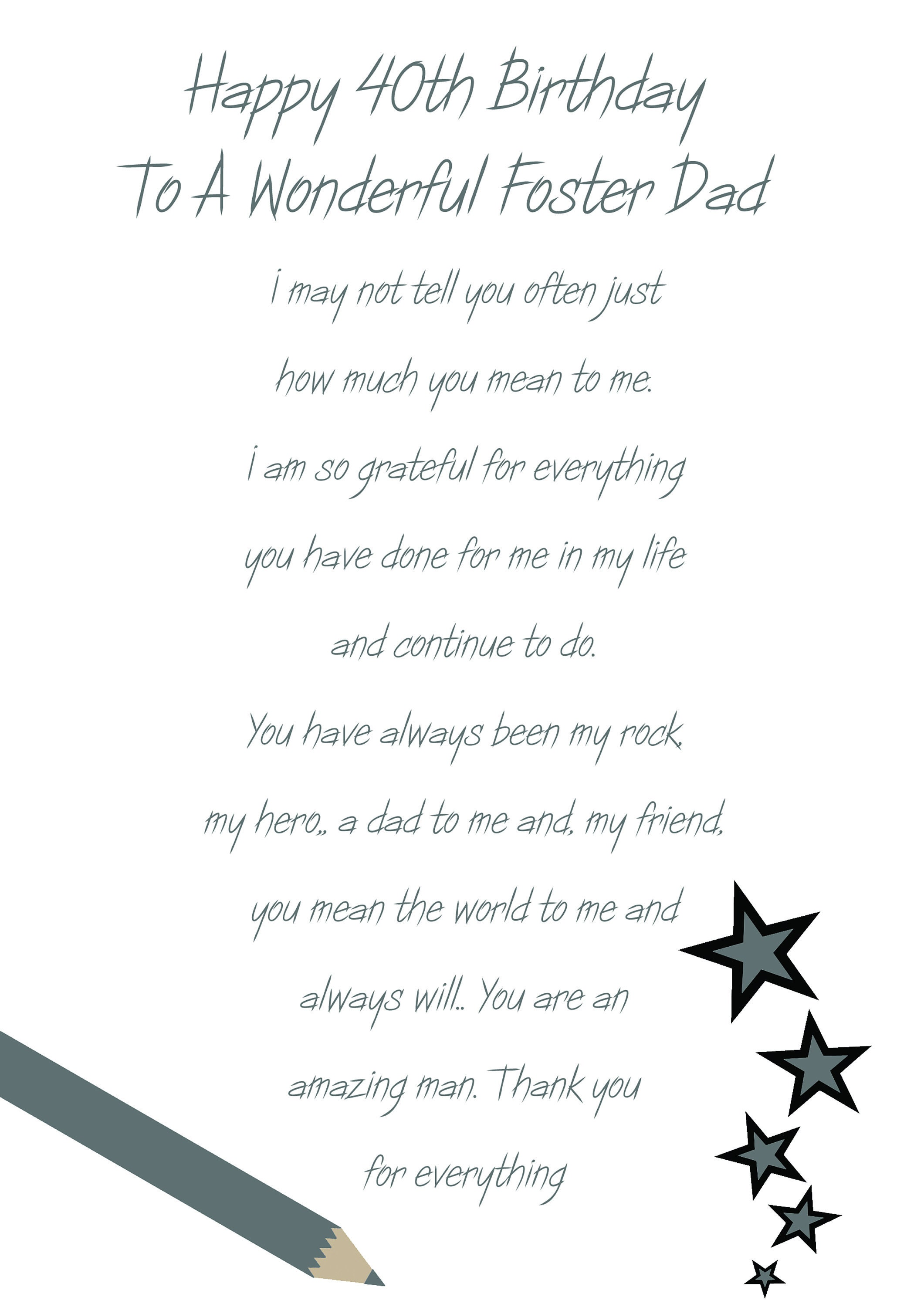 Foster Dad 40 Birthday Card