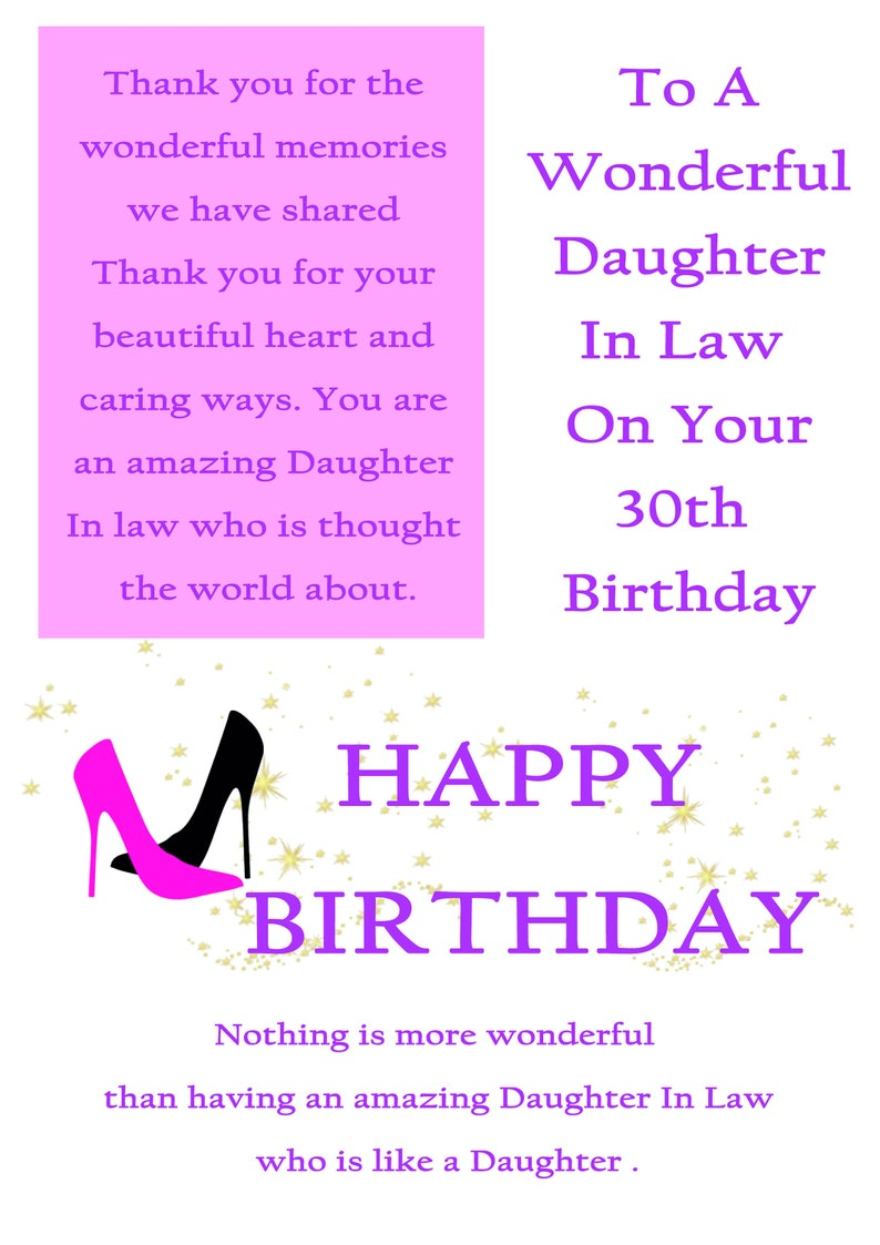 Daughter In Law 30 Birthday Card With Removable Laminate