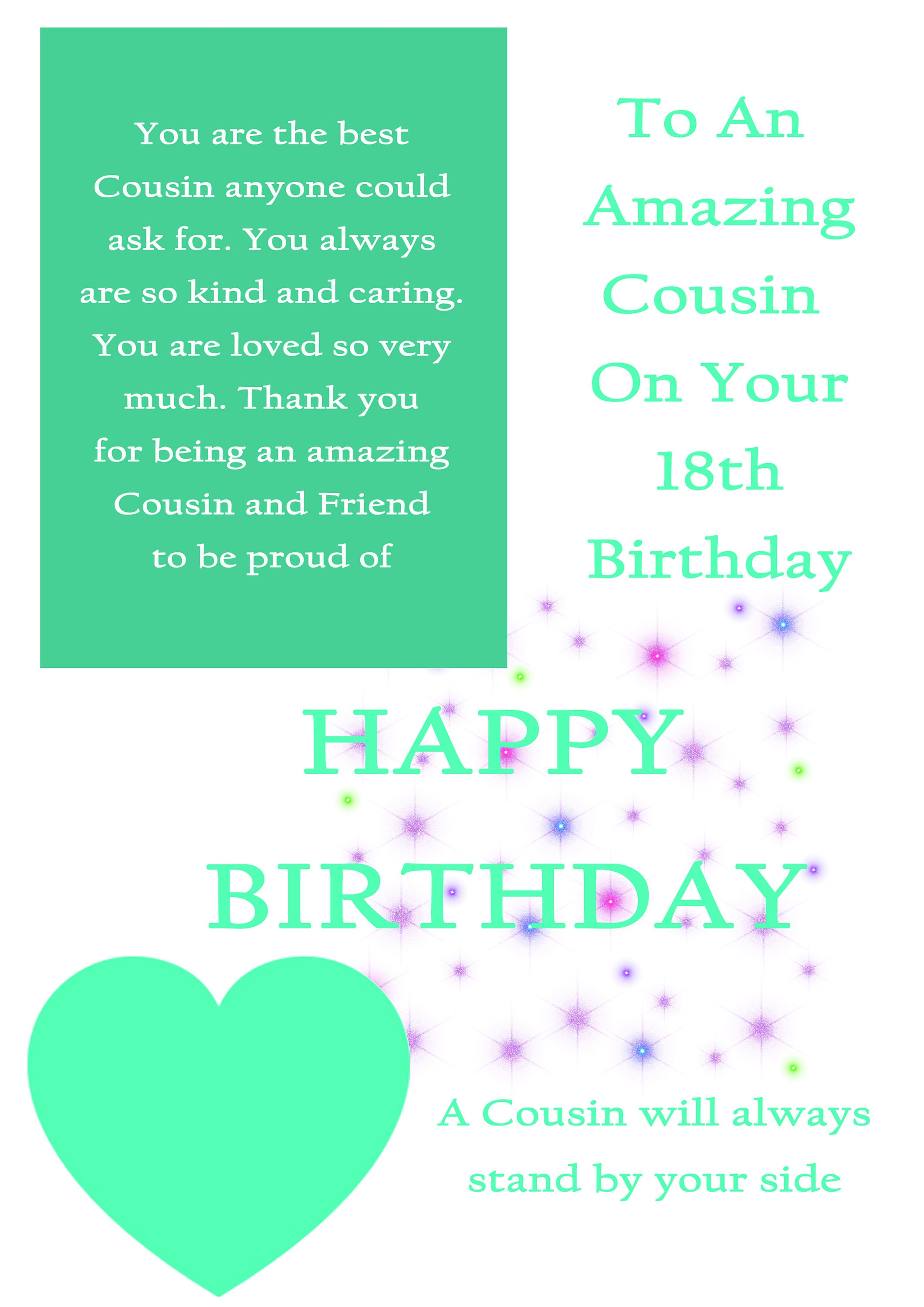 Cousin 18 Birthday Card With Removable Laminate Female