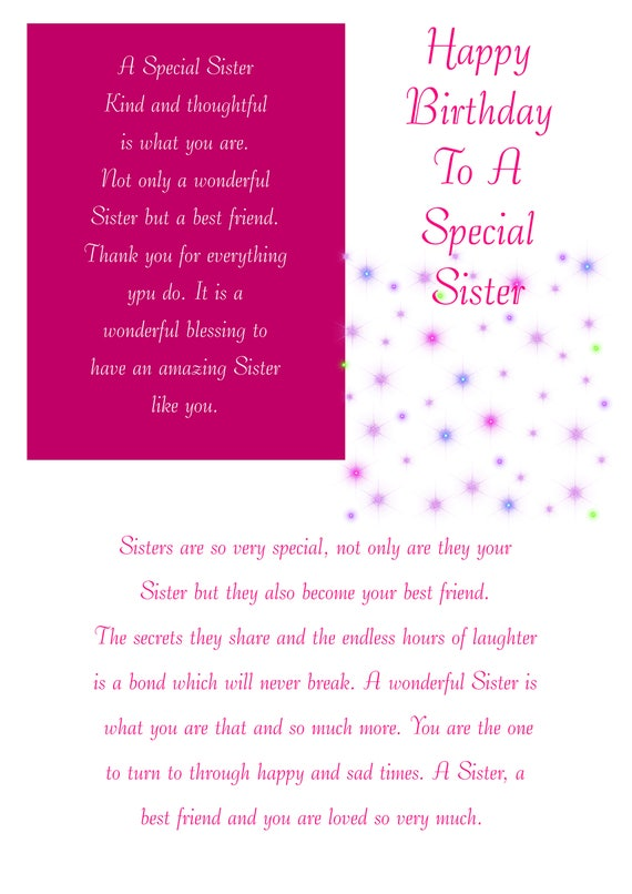 Sister Birthday Card With Removable Laminate