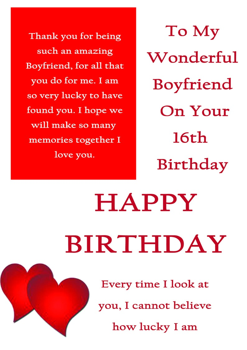 Boyfriend 16 Birthday Card With Removable Laminate