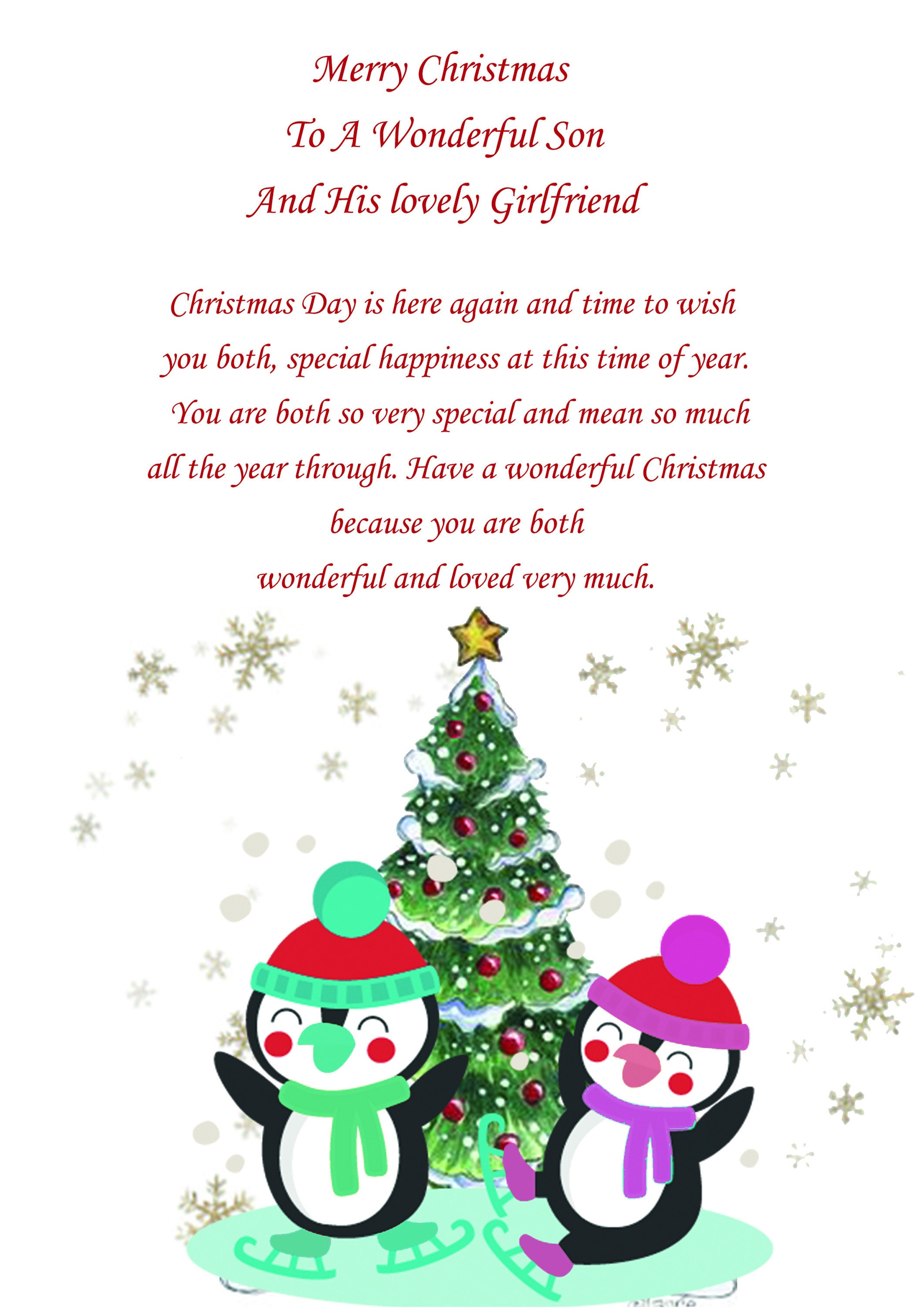 Son And Girlfriend Christmas Card Cute | Etsy