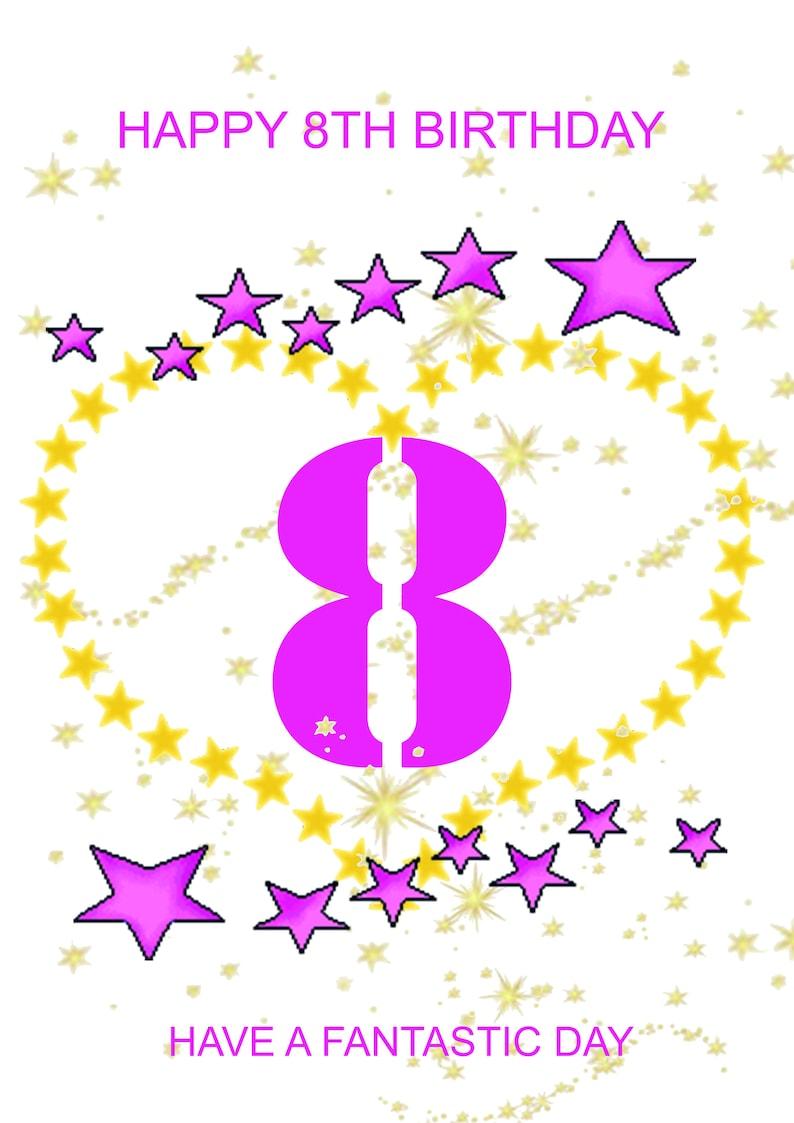 Happy 8th Birthday Card Girl