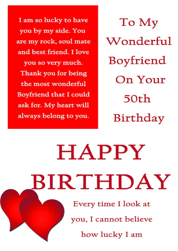 Boyfriend 50 Birthday Card With Removable Laminate