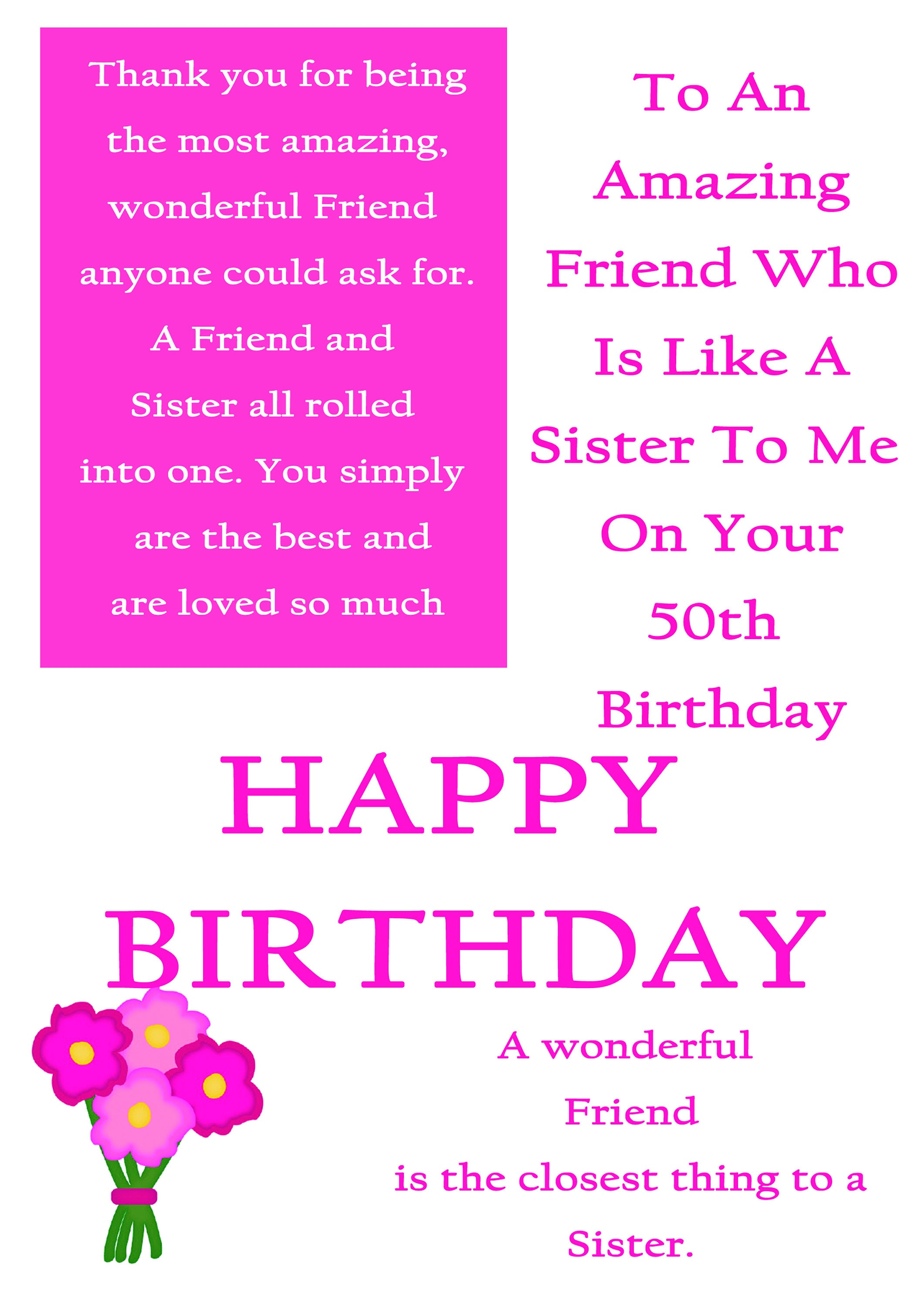 Friend Like A Sister 50 Birthday Card With Removable Laminate