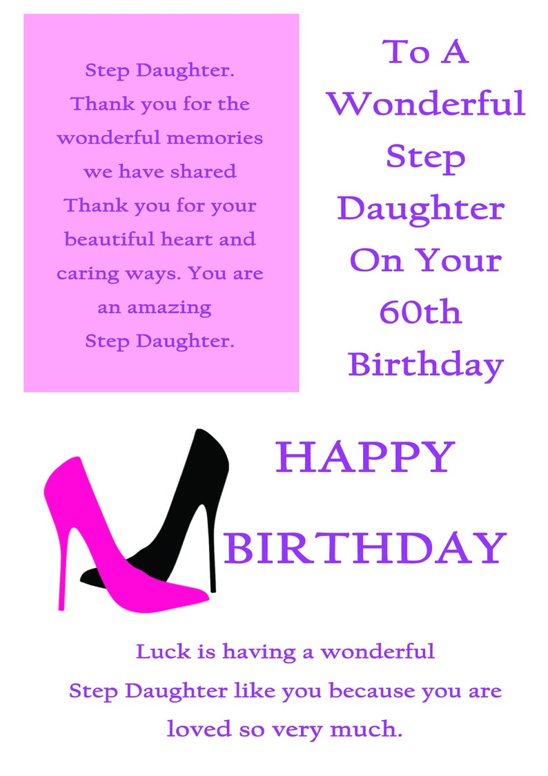Step Daughter 60 Birthday Card With Removable Laminate
