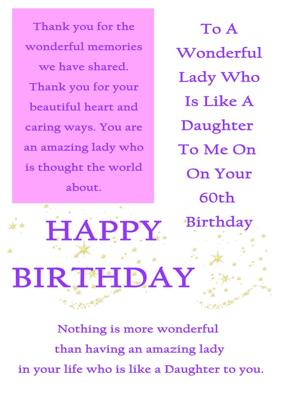 Like A Daughter 60 Birthday Card With Removable Laminate