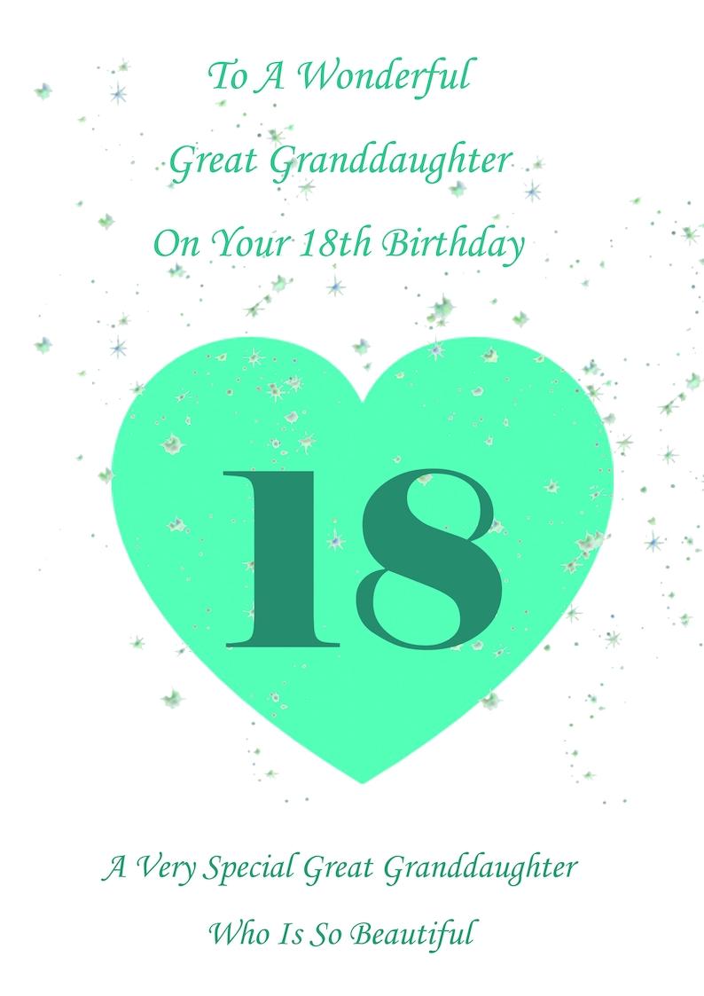 Great Granddaughter 18th Birthday Card