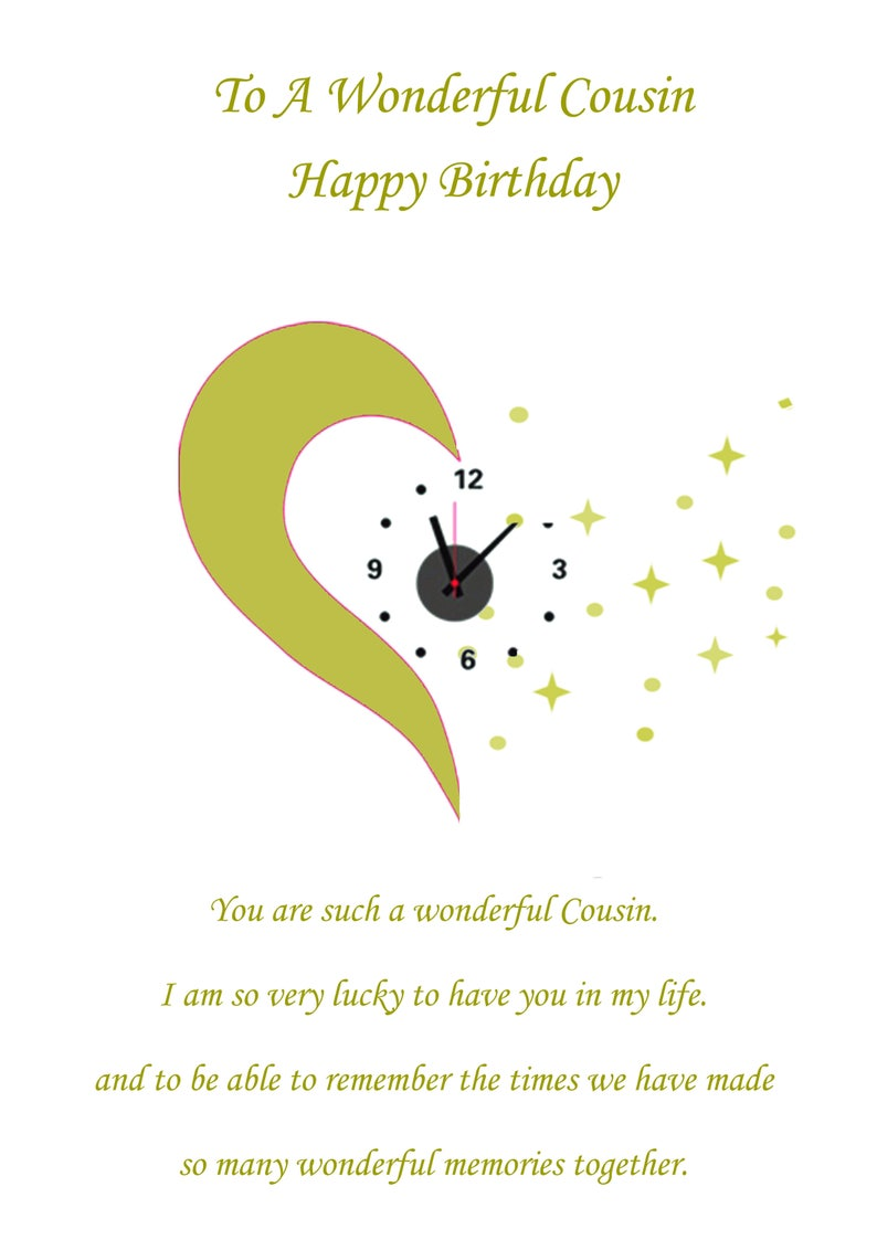 Cousin Birthday Card Female