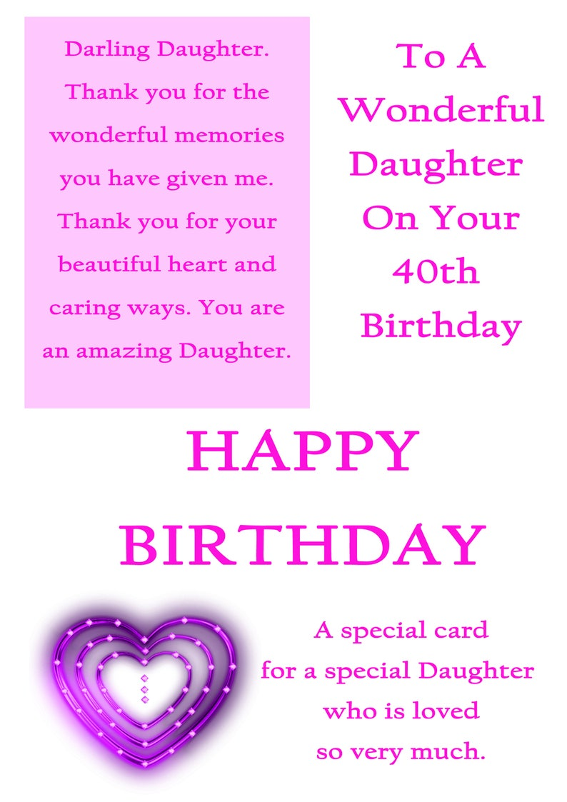 Daughter 40 Birthday Card With Removable Laminate