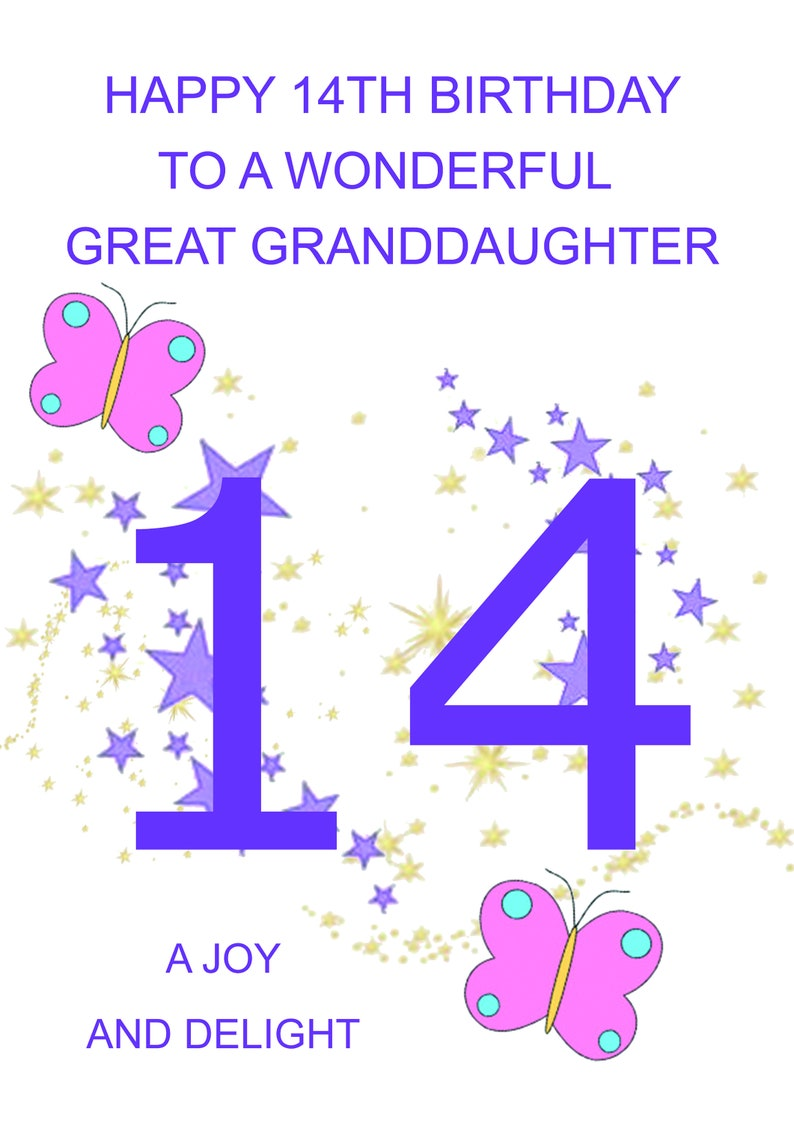 Great Granddaughter 14th Birthday Card