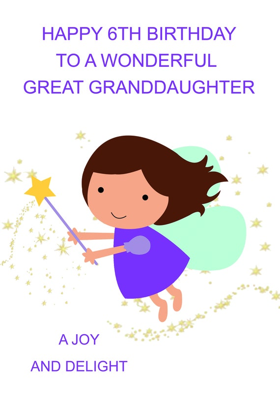 Great Granddaughter 6th Birthday Card