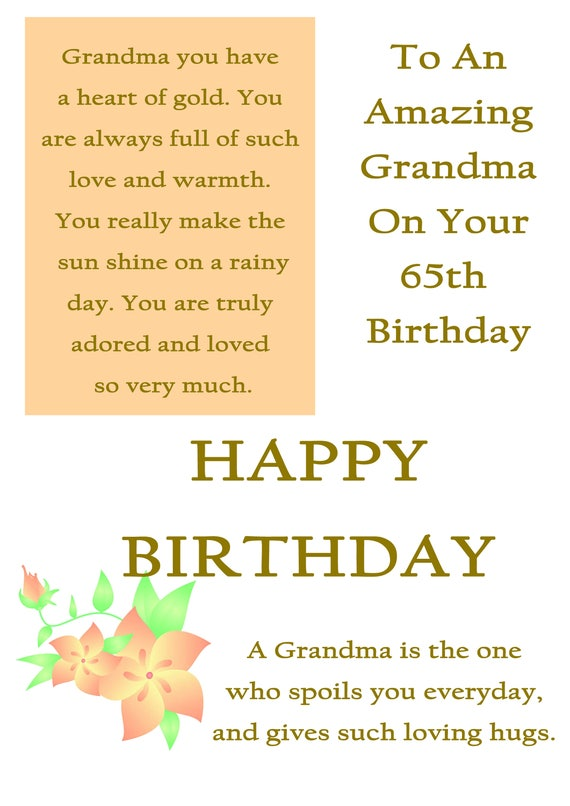 Oma 65 Geburtstagskarte Mit Abnehmbaren Laminat Etsy