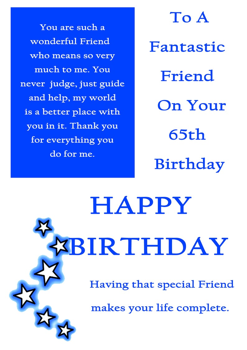 Friend 65 Birthday Card Male With Removable Laminate