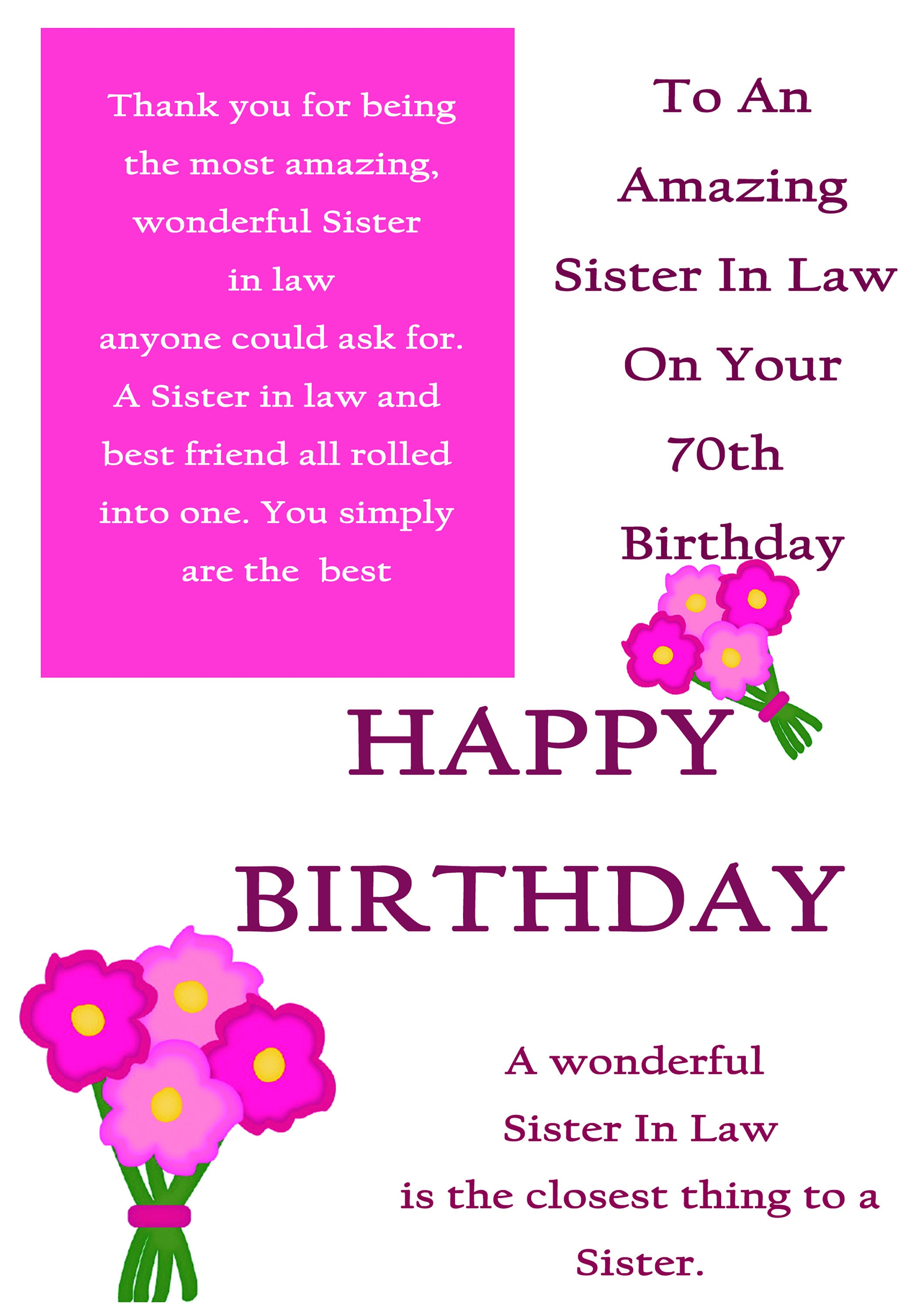 Sister in Law 70 Birthday Card with removable laminate   Etsy