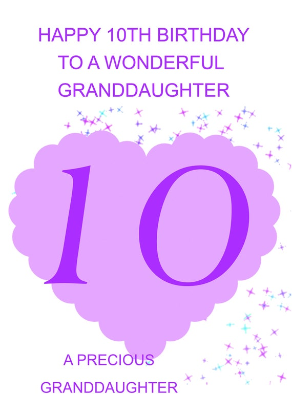 Granddaughter 10th Birthday Card