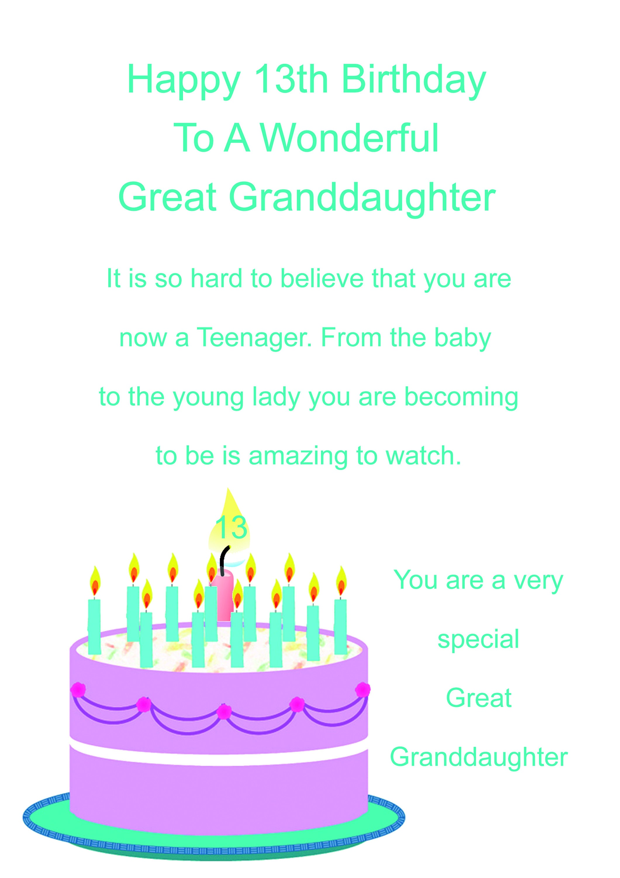 Great Granddaughter 13 Birthday Card