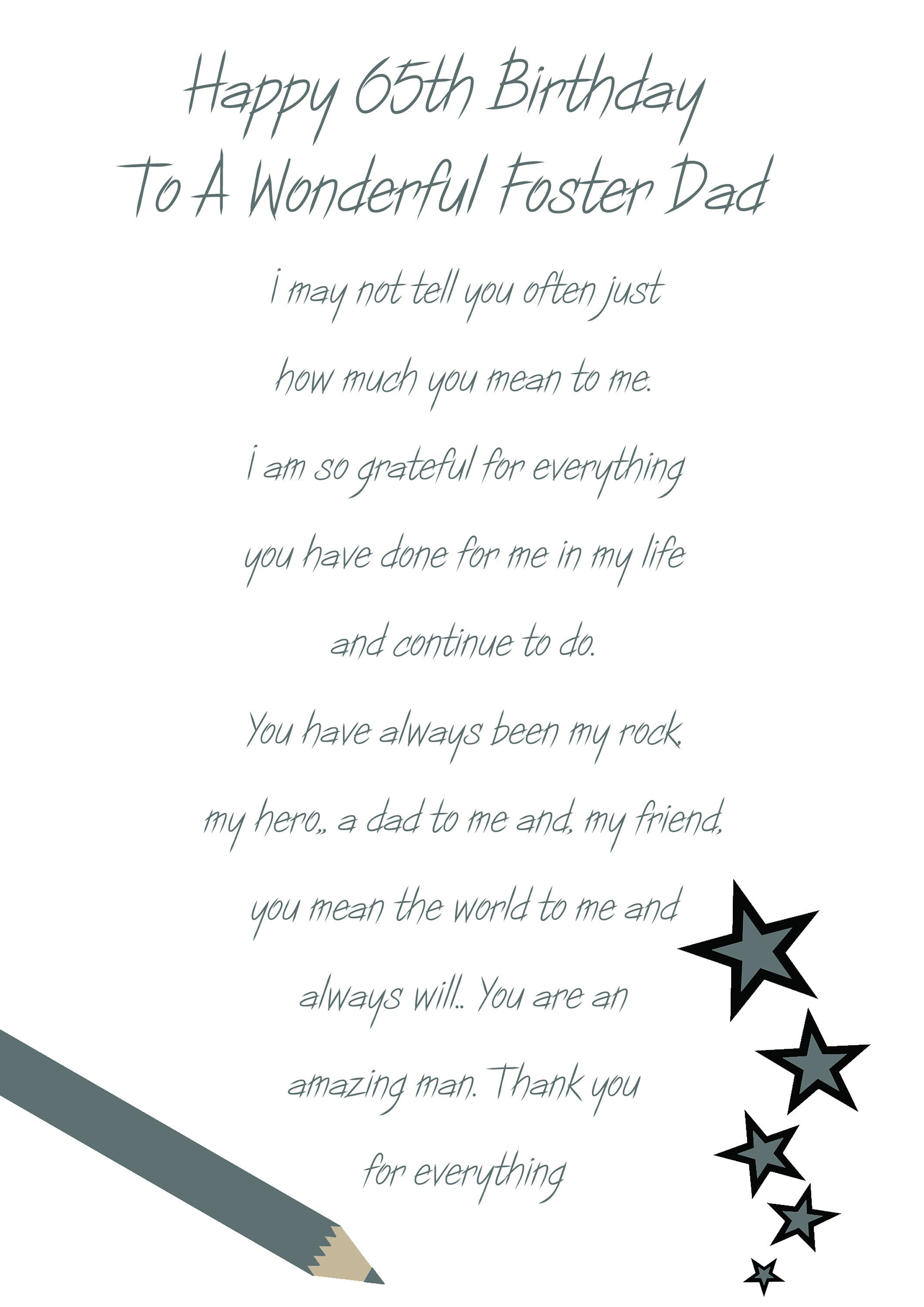 Foster Dad 65 Birthday Card