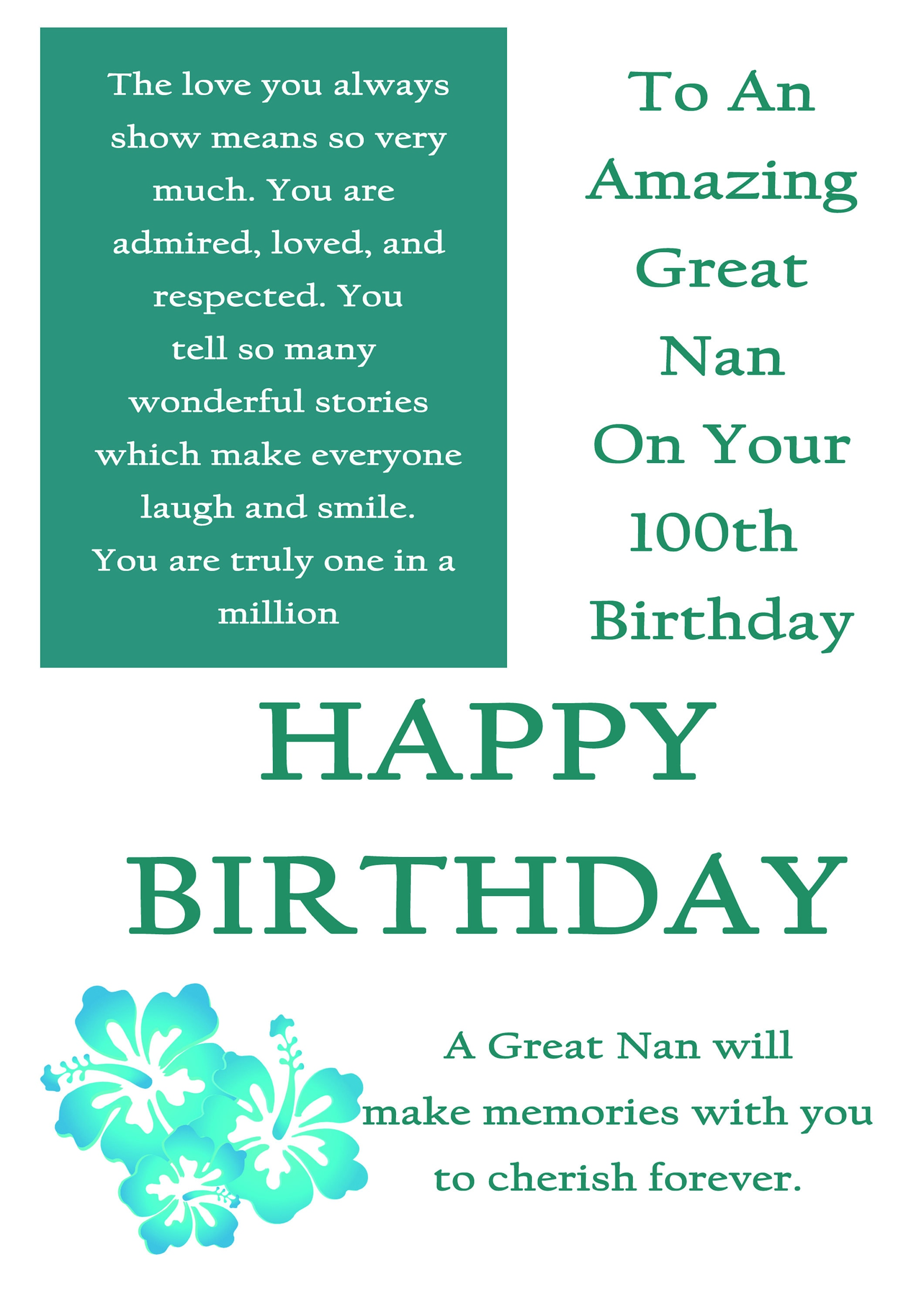 Great Nan 100 Birthday Card With Removable Laminate