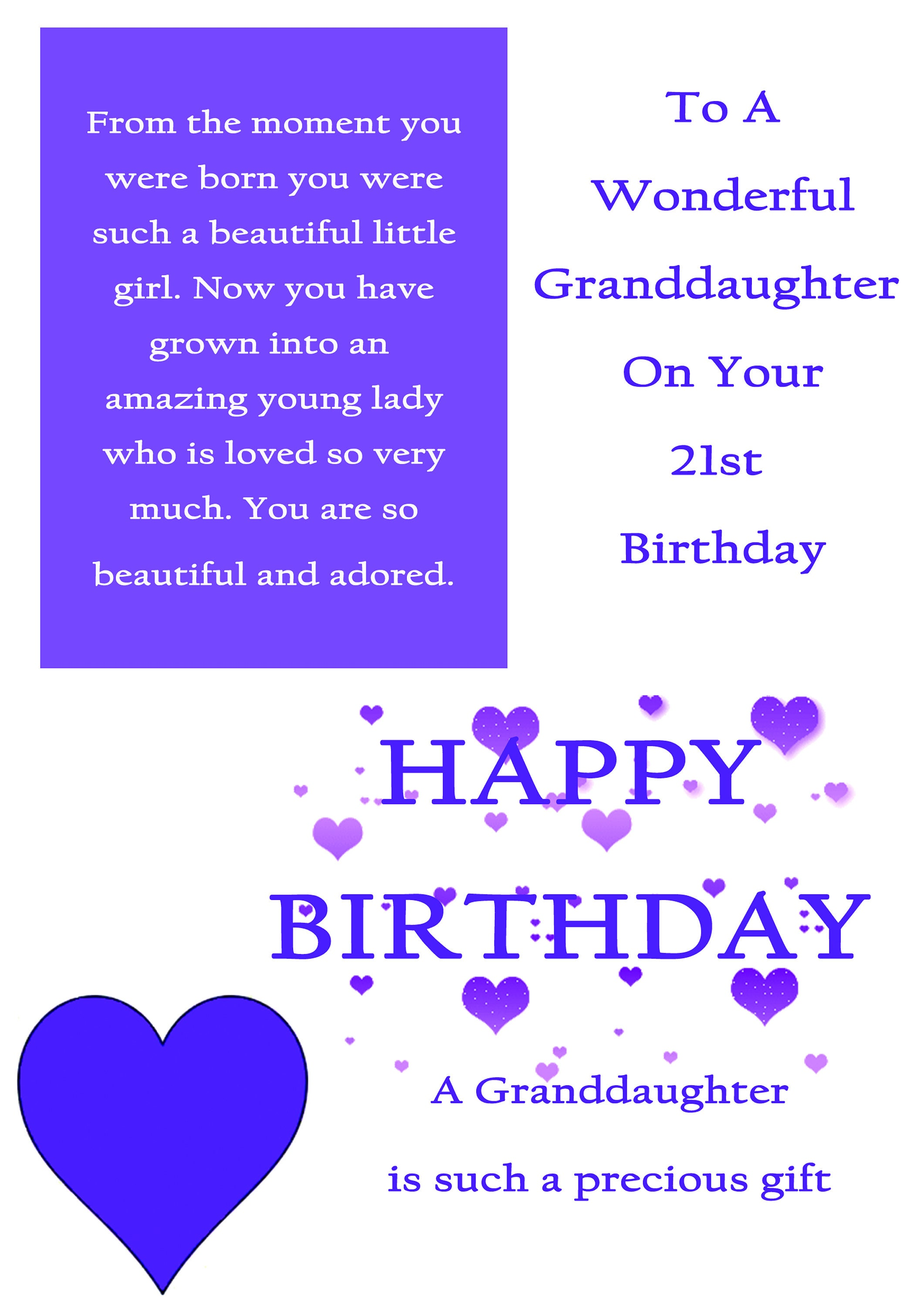 Granddaughter 21 Birthday Card With Removable Laminate