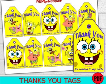 SpongeBob Party, Printable SpongeBob Thank You Tags,  SpongeBob Birthday Party Thank You Tags, instant download