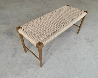 Solid oak bench with woven danish cord seat, bedside bench