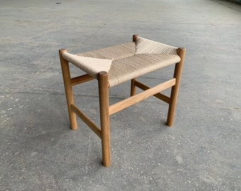 Solid oak stool with woven danish cord seat