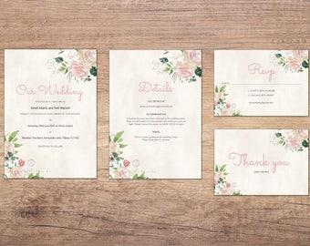 Vintage Rose Printable Wedding Invitation Set
