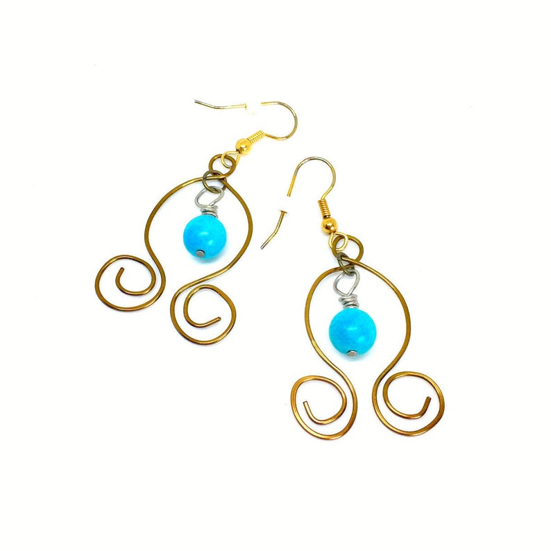 c13794471d982 Turquoise Earrings Antique Gold Turquoise earrings hanging