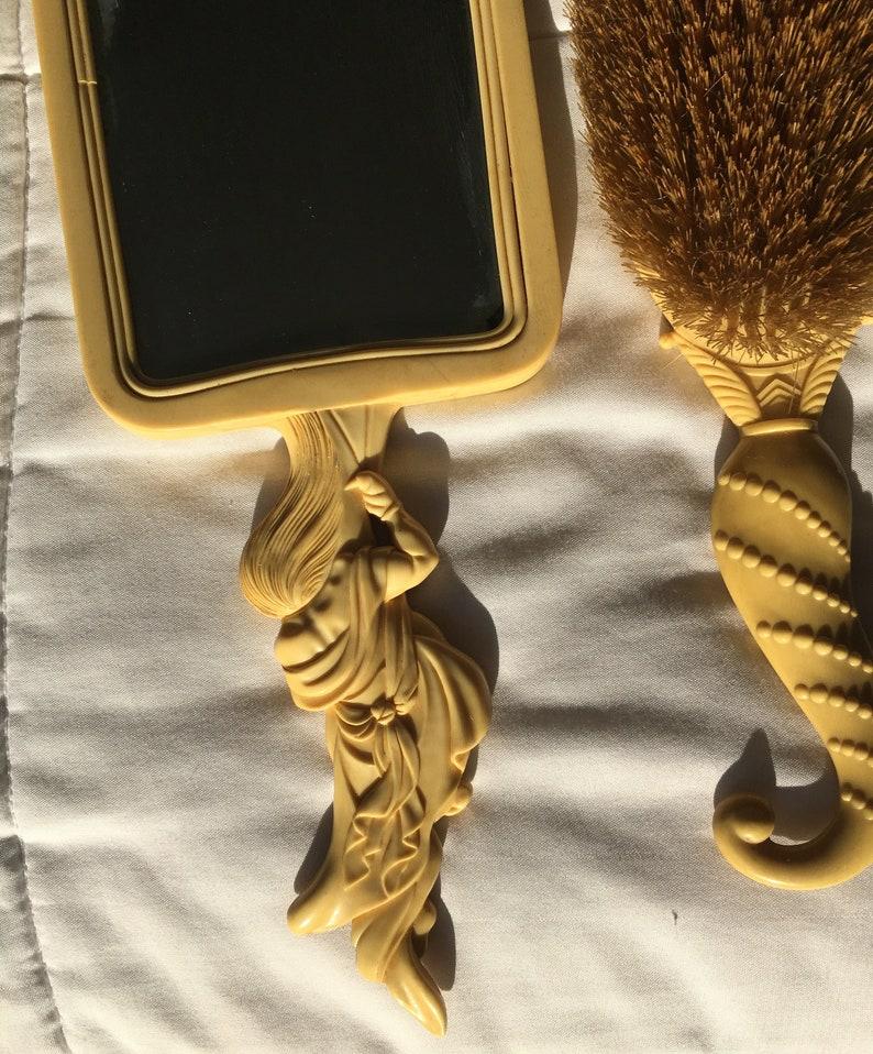 Figural Mirror /& Brush Set vintage