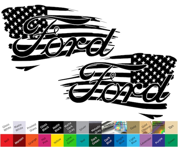 Pair of tattered american flag decals single color ready to apply high quality