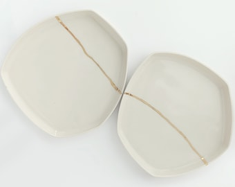 Medium size handmade ceramic plate, Off white color with gold dinnerware, Minimalistic and geometrical design, Simple plate, Boho chic,Hygge