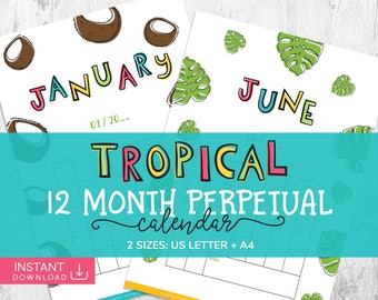 Perpetual Tropical Calendar, Daily Planner, Wall Calendar, Printable Calendar, Monthly Agenda, Yearly Wall Calendar, Monthly Calendar