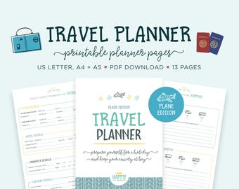 Travel Planner, Vacation Planner Kit, Trip Planner, Packing List, Travel Itinerary, Holiday Planner, Travel Printable, Vacation Checklist