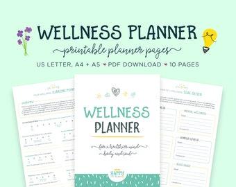 Wellness Planner, Health Planner, Goal Planner, Wellness Journal, Mental Health, Health and Fitness, Self Help, Health Journal, Self Care