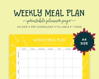 meal planner pages daily planner recipe cards meal etsy
