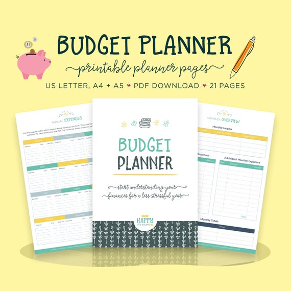 budget planner finance printables daily planner bill etsy