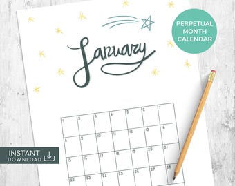 January Printable Calendar, Perpetual Calendar, Month Wall Calendar, Single Month Calendar, Hand Drawn Calendar, Hand Lettered Calendar