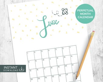 June Printable Calendar, Single Month Calendar, Hand Drawn Calendar, Hand Lettered Calendar, Perpetual Calendar, Month Wall Calendar