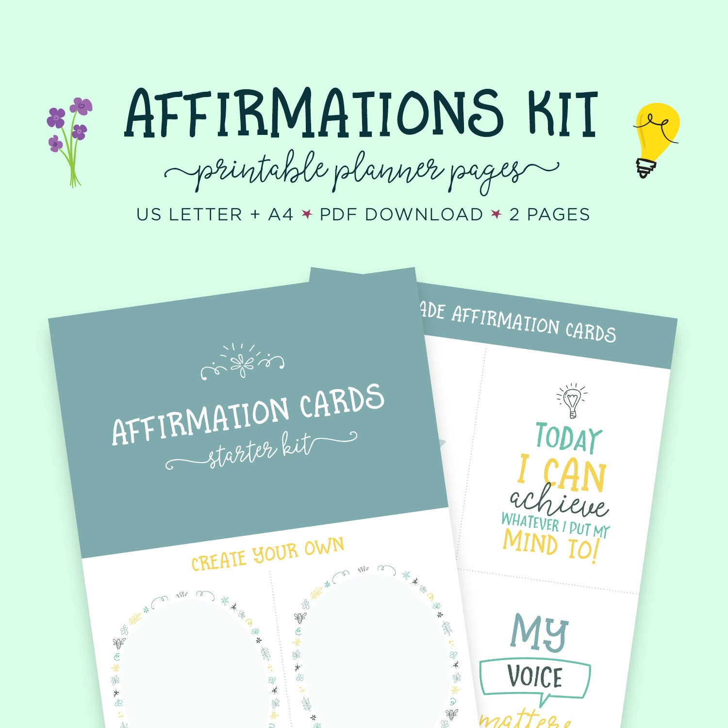 This is an image of Challenger Affirmation Cards Printable