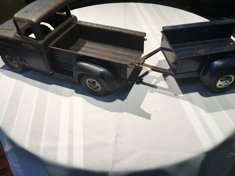 Vintage Tonka Pickup Truck and Trailer Blue 50s Used & Rare Free Shipping