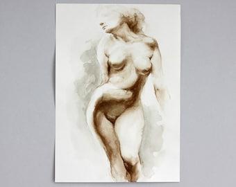 Woman Nude Watercolor Original Painting Naked Body Figurative Aquarelle Female Artwork Bedroom Wall Art