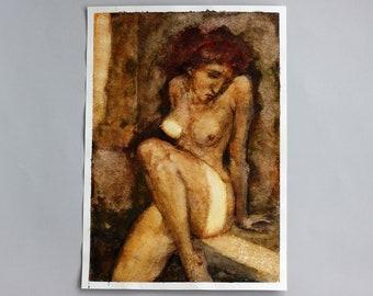 Nude Woman Watercolor Original Painting Naked Figure Illustration Bedroom Wall Art Burnt Orange Brown Figurative Painting